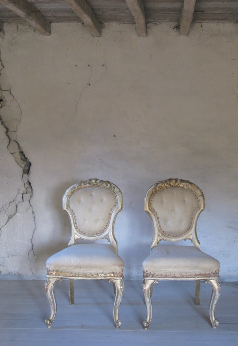 Gilt Pair of Dining Chairs, French Chairs, Gilded Chairs, Side Chairs, 19th Century For Sale