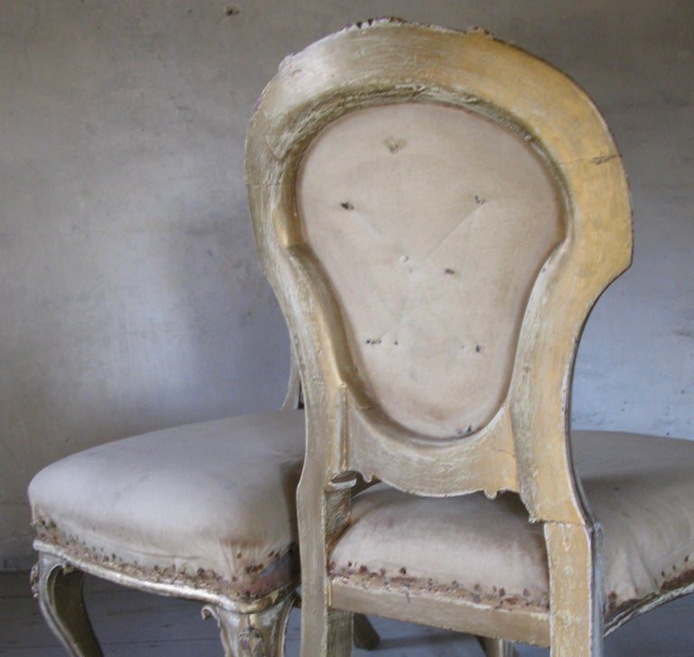 Fruitwood Pair of Dining Chairs, French Chairs, Gilded Chairs, Side Chairs, 19th Century For Sale