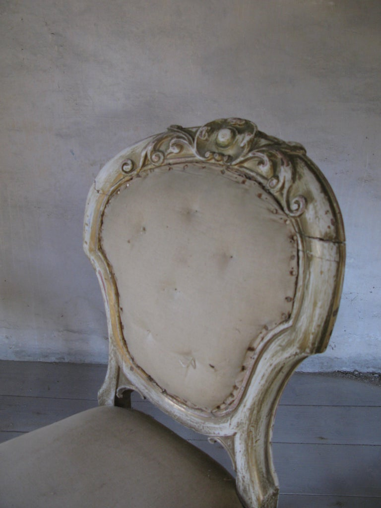 Pair of Dining Chairs, French Chairs, Gilded Chairs, Side Chairs, 19th Century For Sale 1