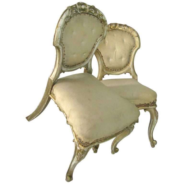 Pair of Dining Chairs, French Chairs, Gilded Chairs, Side Chairs, 19th Century For Sale