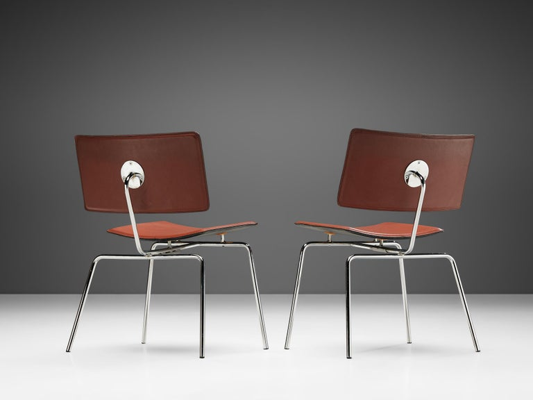 European Pair of Dining Chairs in Chrome and Leather For Sale
