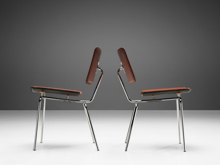 Pair of Dining Chairs in Chrome and Leather In Good Condition For Sale In Waalwijk, NL