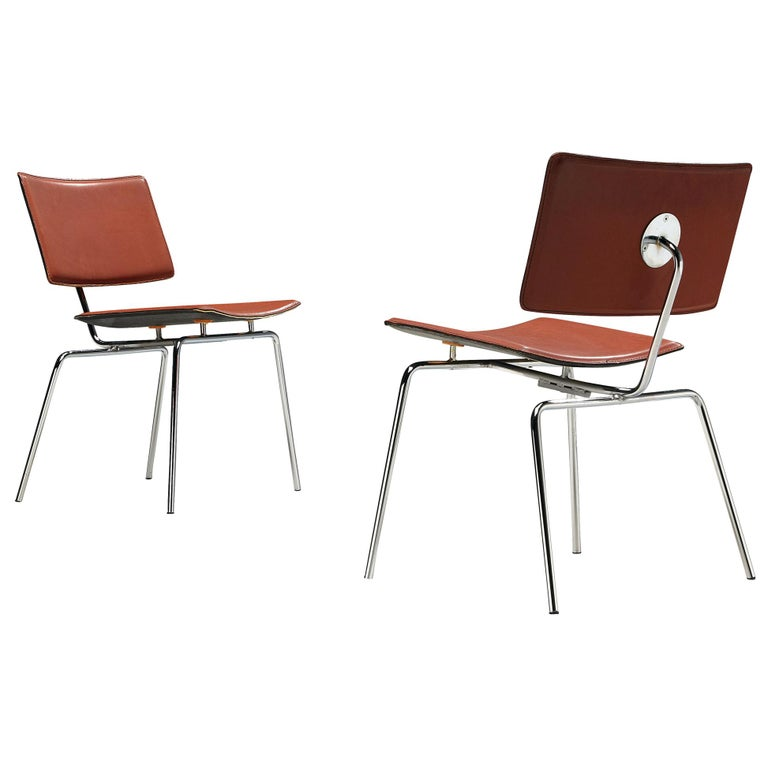 Pair of Dining Chairs in Chrome and Leather For Sale