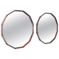 Pair of Dino Cavalli Walnut Mirrors, Midcentury, Italy