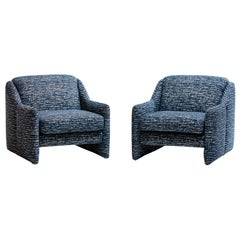 Sculptural Pair of Blue and Ivory Knoll Fabric Lounge Chairs by Directional