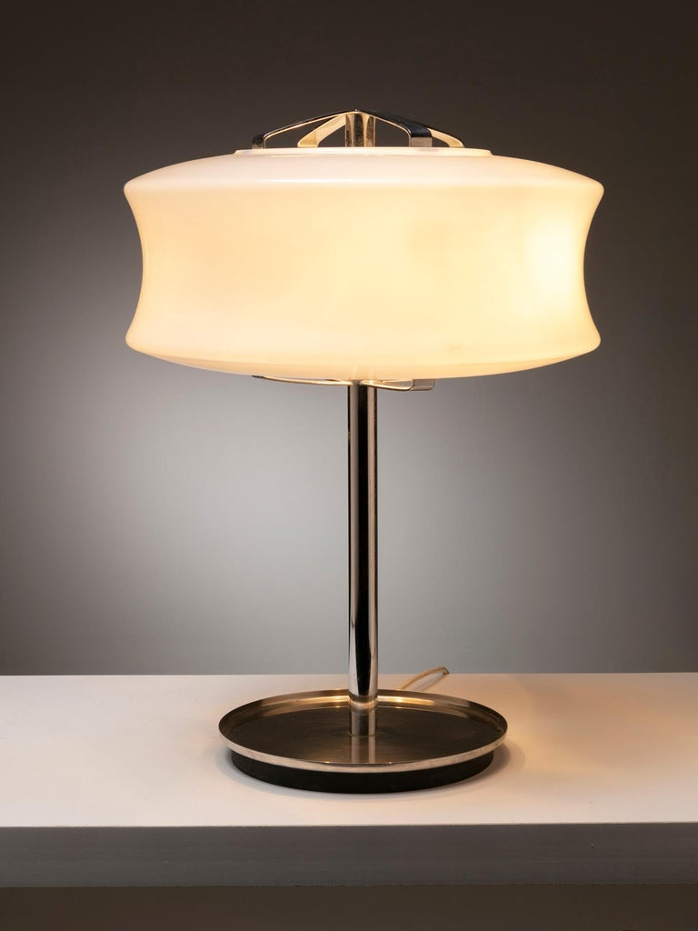 Set of two directional table lamps by Gaetano Scolari for Ecolight. Large opaline glass shade and steel frame.