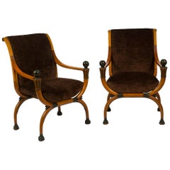 Pair of Directoire Parcel Painted Mahogany Curule Armchairs, Attributed to Jacob