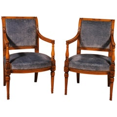 Pair of Directoire Period Armchairs in Beech, 19th Century