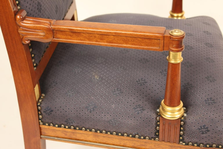 Bronze Pair of Directoire Style Armchairs For Sale