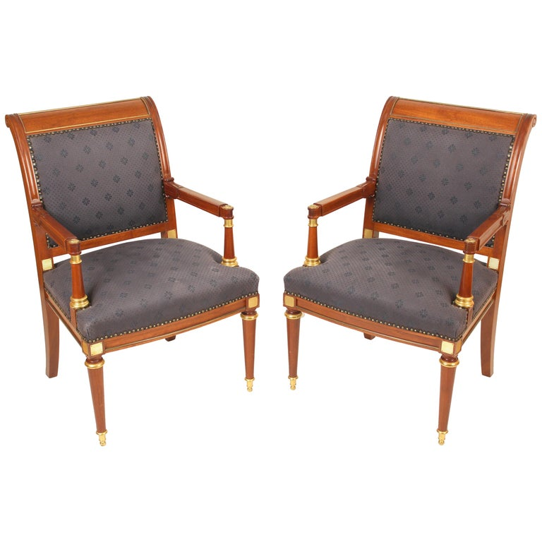 Pair of Directoire Style Armchairs For Sale