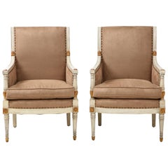 Pair of Directoire Style Bergère Chairs