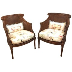 Pair of Directoire Style Caned Armchairs