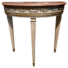 Pair of Directoire-Style Demilune Console Tables, Marble Top, Polychromed