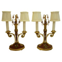 Pair of Directoire Style Gilt Bronze and Tole Painted Candelabra Lamps