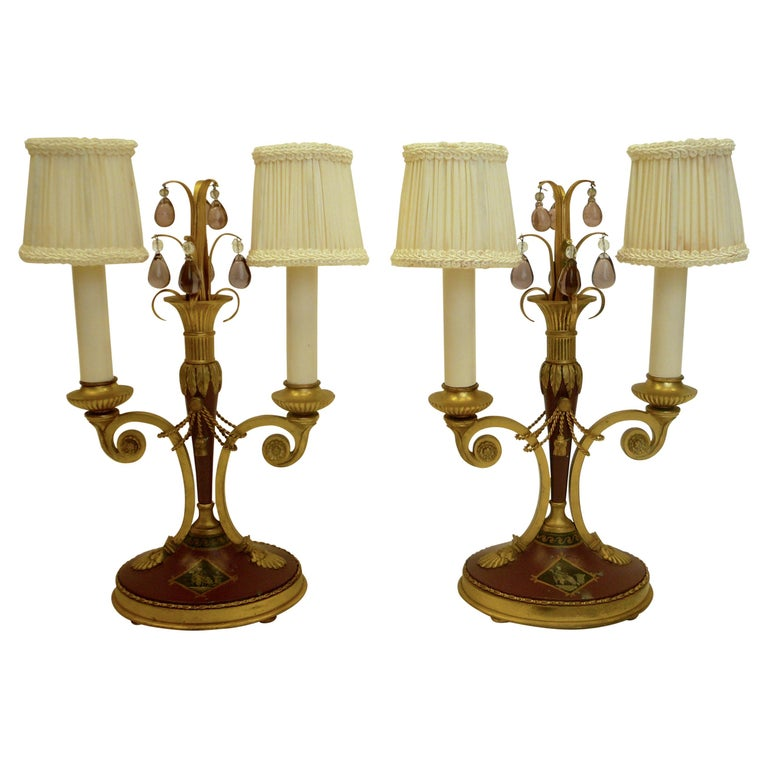 Pair of Directoire Style Gilt Bronze and Tole Painted Candelabra Lamps For Sale