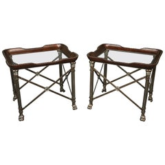 Pair Large Steel Leather and Glass Maitland Smith Style Directoire End Tables