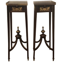 Pair of Directoire Style Mahogany and Bronze-Mounted Pedestal Tables