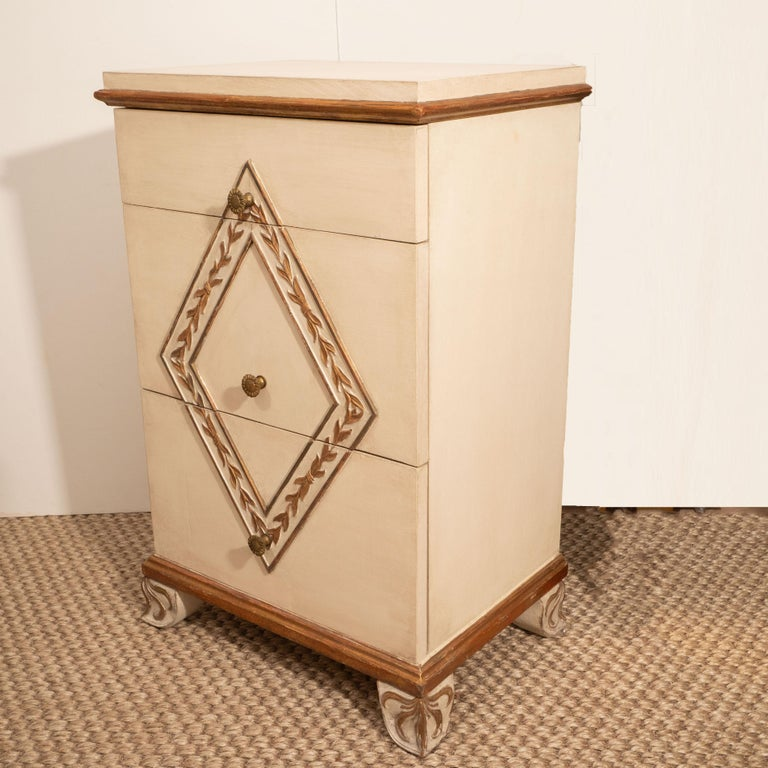 Pair of Directoire Style Painted Bedside Tables For Sale 1
