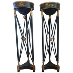 Pair of Directoire Style Plant Stands with Marble Tops