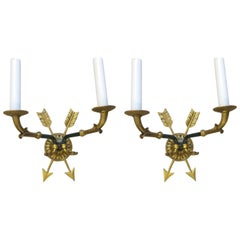 Pair of Directoire-Style Two-Arm Bronze Sconces