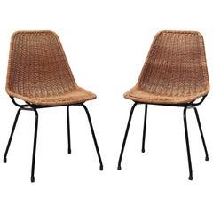 Pair of Dirk van Sliedregt Style Rattan Shell Seat Chair