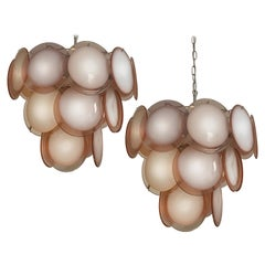 Pair of Disc Chandeliers by Vistosi, Murano, 1970s