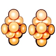 Pair of Disc Murano Glass Sconces or Wall Light, 1970s