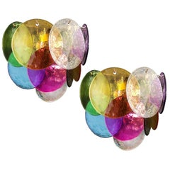 Pair of Disc Sconces Multi-Color, Murano, 1970s