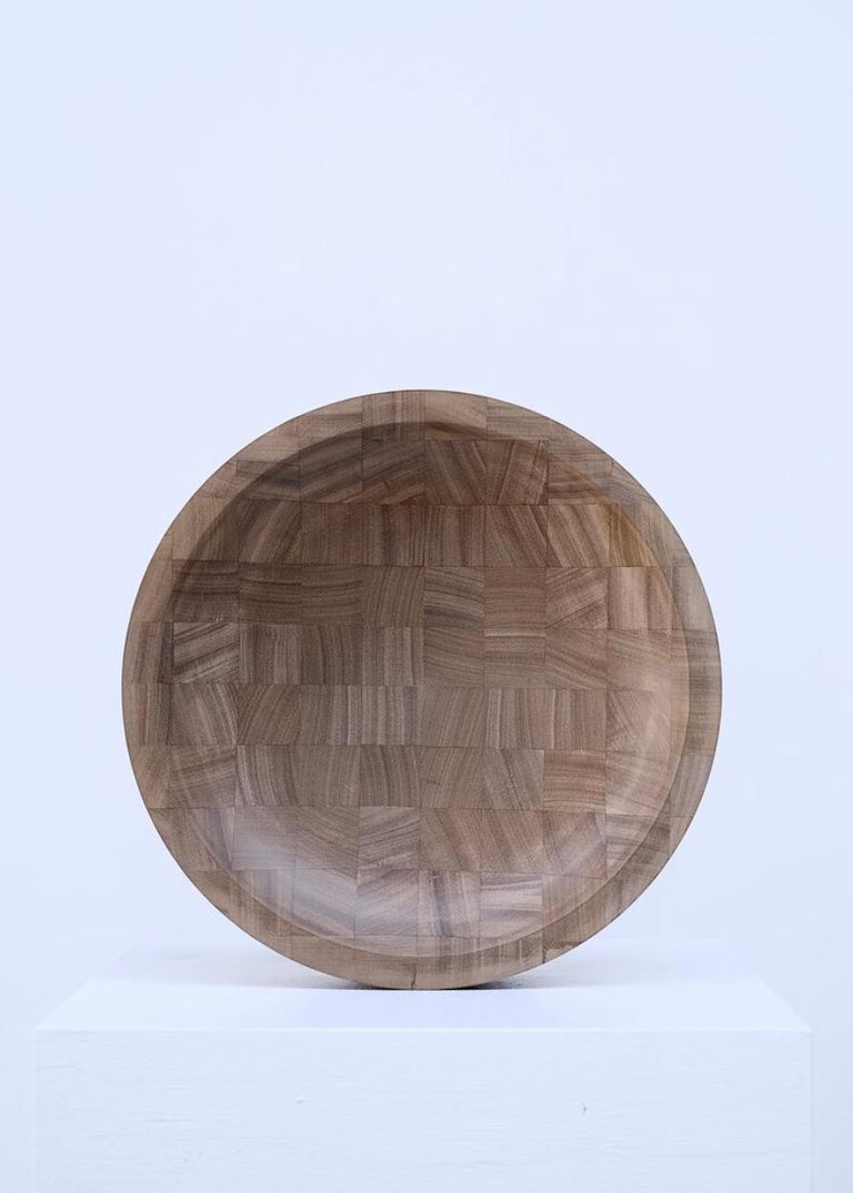 Wood Pair of Disk Trays, African Walnut, Signed by Arno Declercq