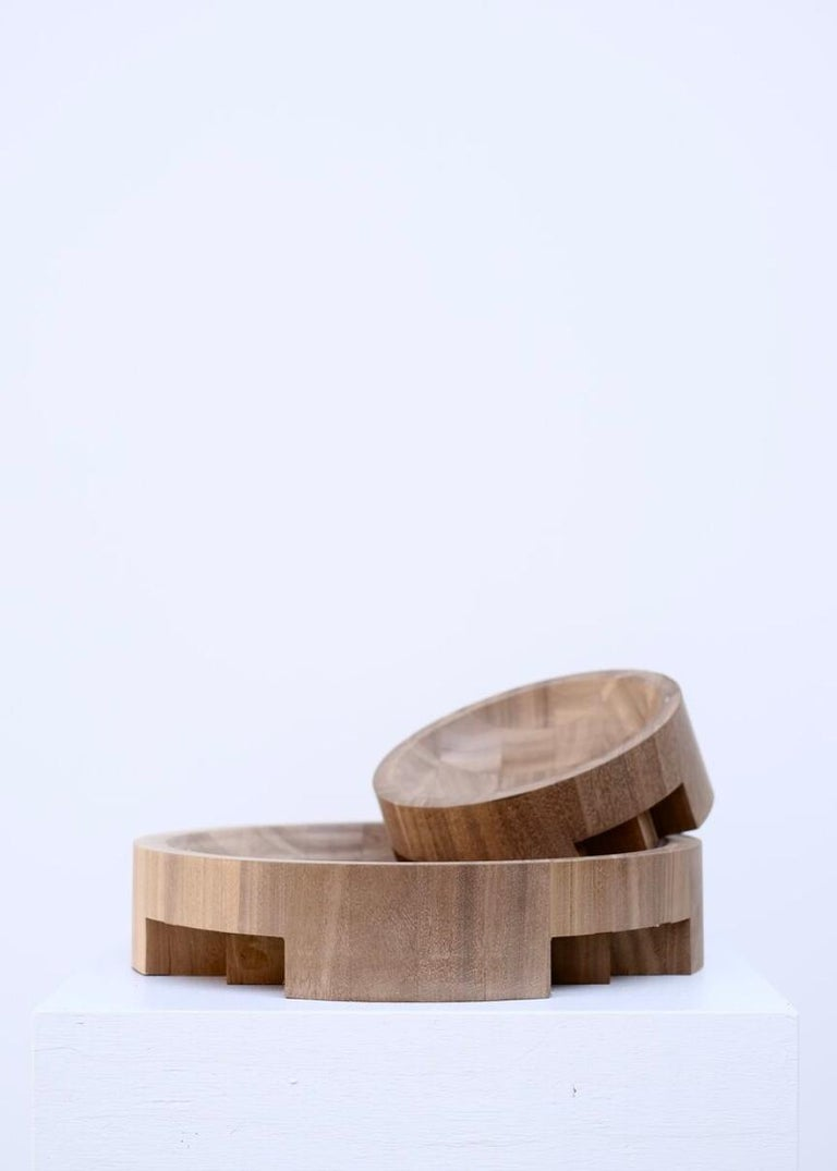 Pair of Disk Trays, African Walnut, Signed by Arno Declercq 1