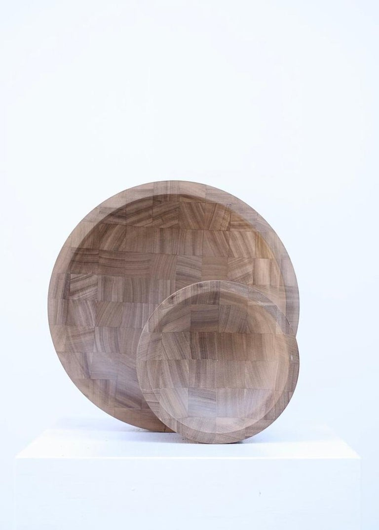 Pair of Disk Trays, African Walnut, Signed by Arno Declercq 2