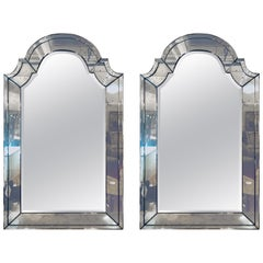 Pair of Distressed Dome Topped Classic Antiqued Pier Mirrors