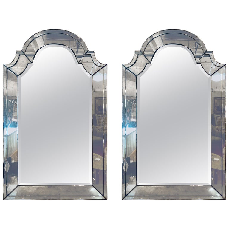 Pair of Distressed Dome Topped Classic Antiqued Pier Mirrors For Sale