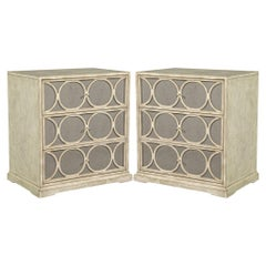 Pair of Distressed End Tables with Upholstered Drawer Fronts