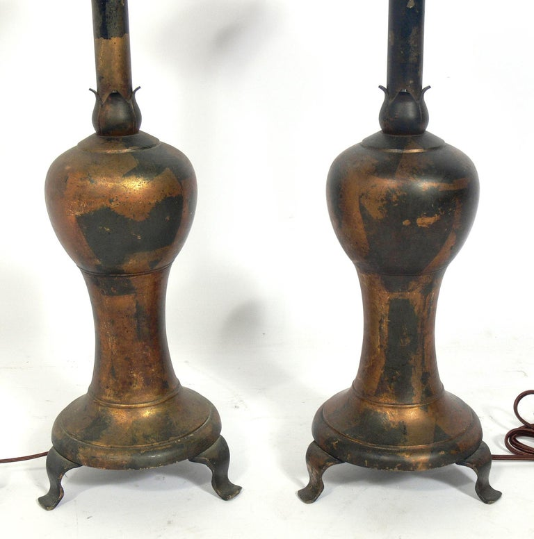 Chinoiserie Pair of Distressed Gilt Metal Asian Lamps For Sale