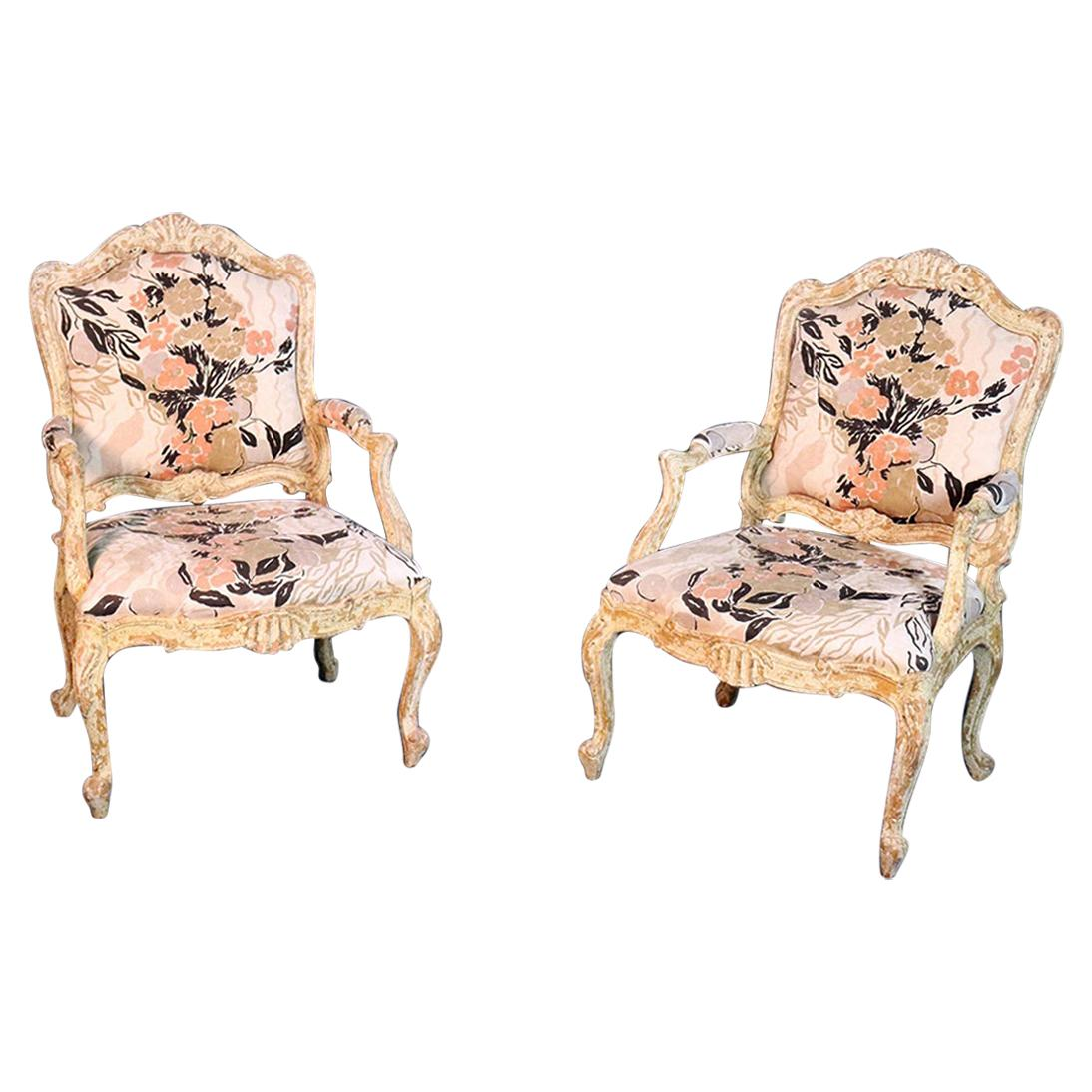 Pair of Distressed Louis XV Style Fauteuils