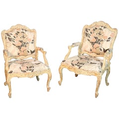 Pair of Distressed Painted French Louis XV Open Arm Bergère Fauteuil Chairs