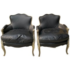 Pair of Distressed Vintage French Style Lounge Chairs for Restoration