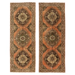 Pair of Distressed Vintage Turkish Oushak Runners with Spanish Colonial Style