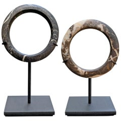 Pair of Dogon Stone Bracelets on Stands