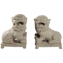 Pair of Dogs Fo Stone Monobloque, China, Early 20th Century, Art of Asia