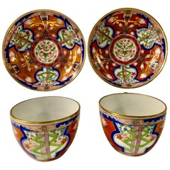 Pair of Dollar Pattern Cups and Saucers