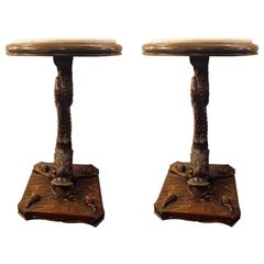 Pair of Dolphin Carved Full Bodied End Tables or Pedestals with Marble Tops