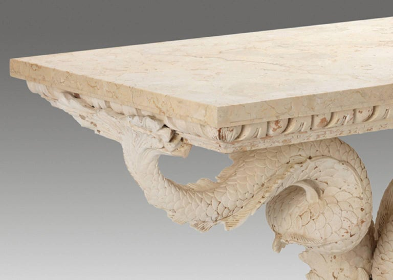 Classical Roman Pair of Dolphin Pedestal Tables in the Manner of William Kent  For Sale