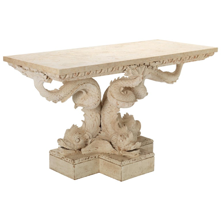Pair of Dolphin Pedestal Tables in the Manner of William Kent  For Sale