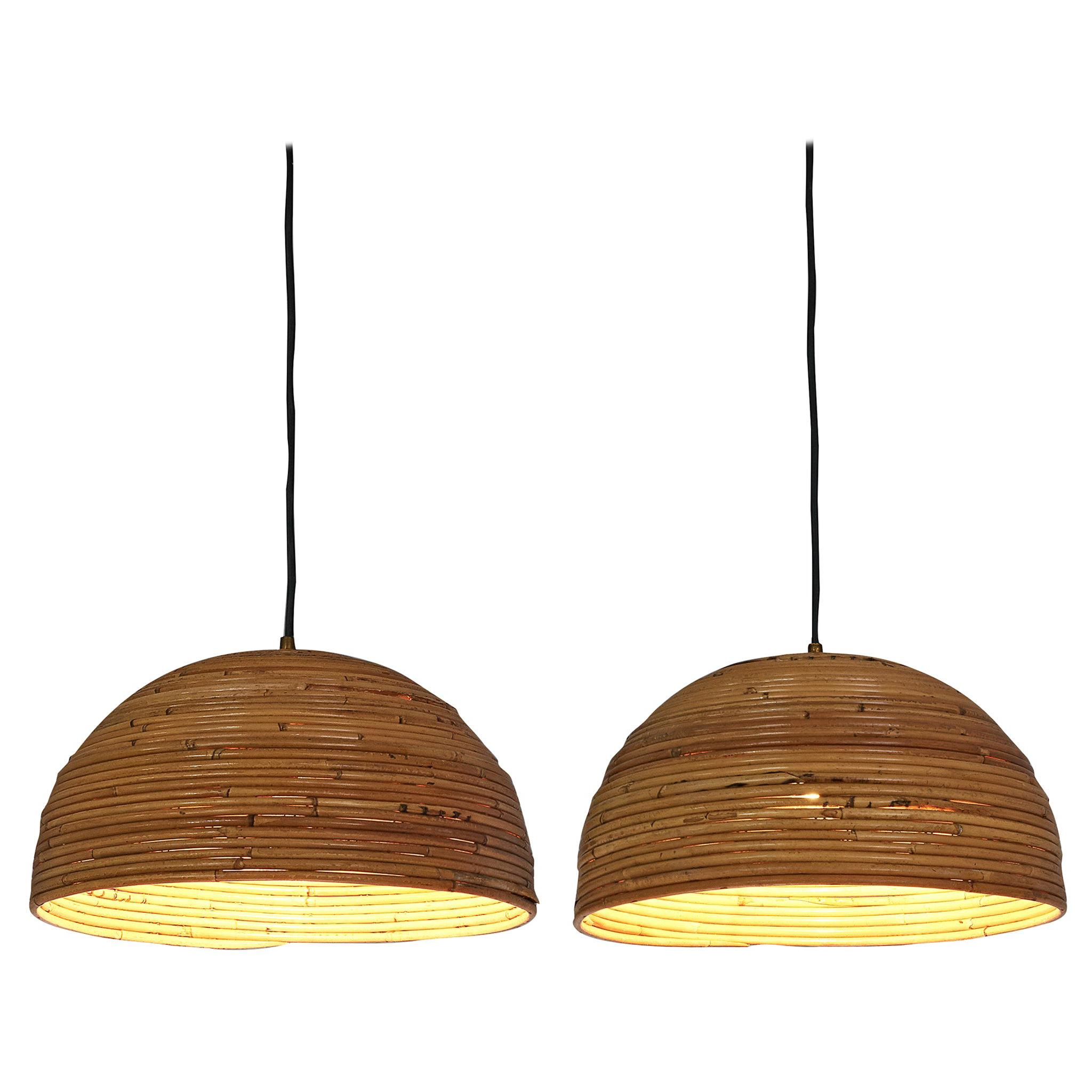 Pair of Dome Pendants in Bamboo Bentwood and Brass