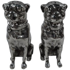 Pair of Dominick & Haff Sterling Silver Salt and Pepper Pug Dog Shakers