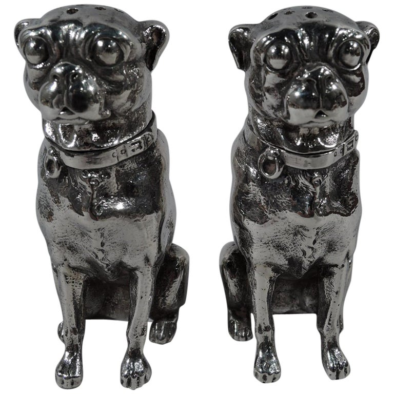 Pair of Dominick & Haff Sterling Silver Salt and Pepper Pug Dog Shakers For Sale