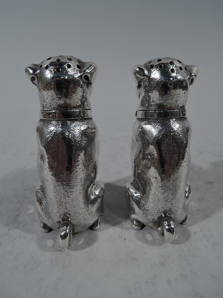 Victorian Pair of Dominick & Haff Sterling Silver Salt and Pepper Pug Dog Shakers For Sale
