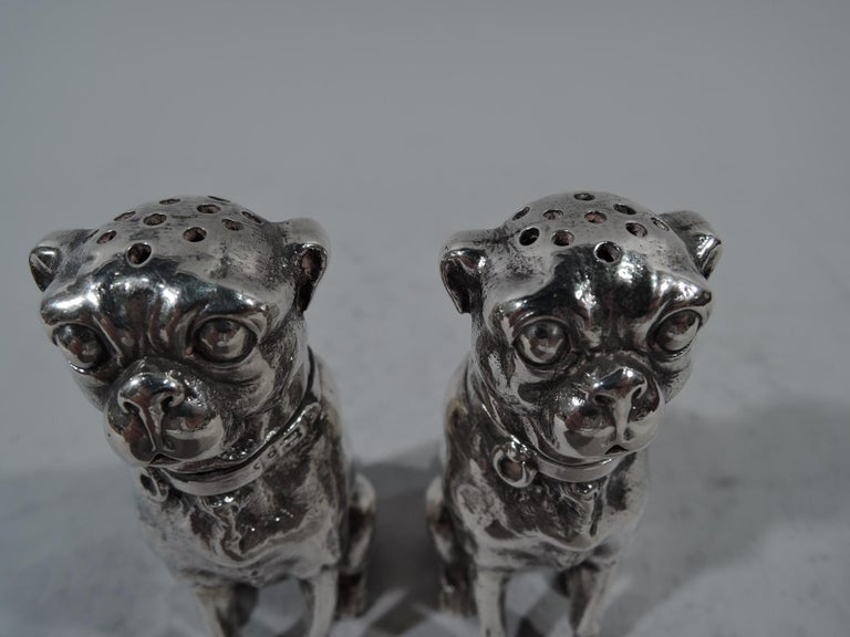 American Pair of Dominick & Haff Sterling Silver Salt and Pepper Pug Dog Shakers For Sale
